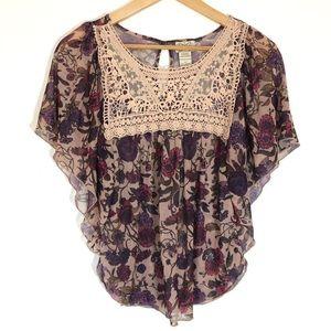 Eyelash Couture Floral & Lace Hippie Peasant Top
